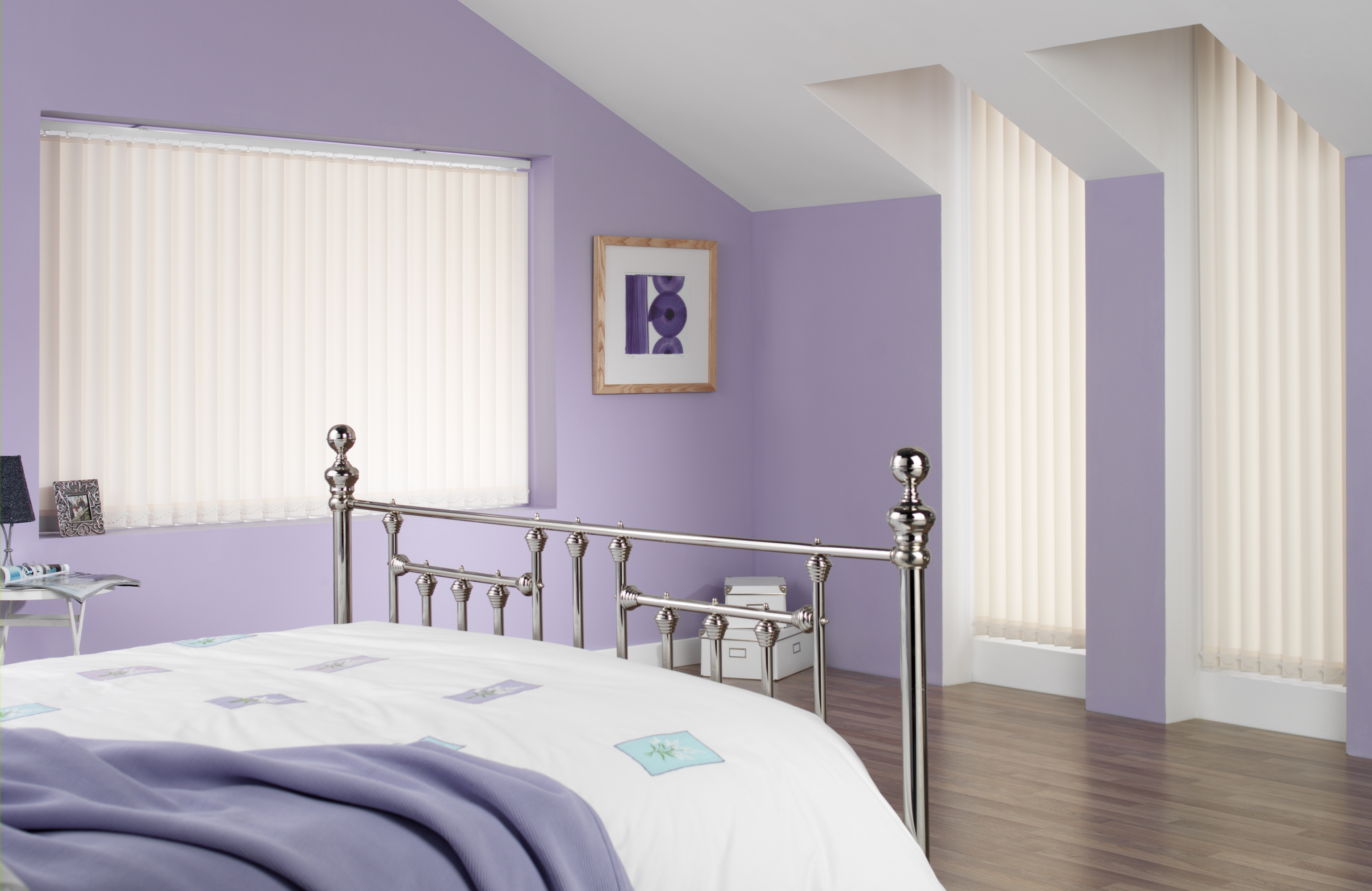 Nice White Vertical Blind   Purple Bedroom