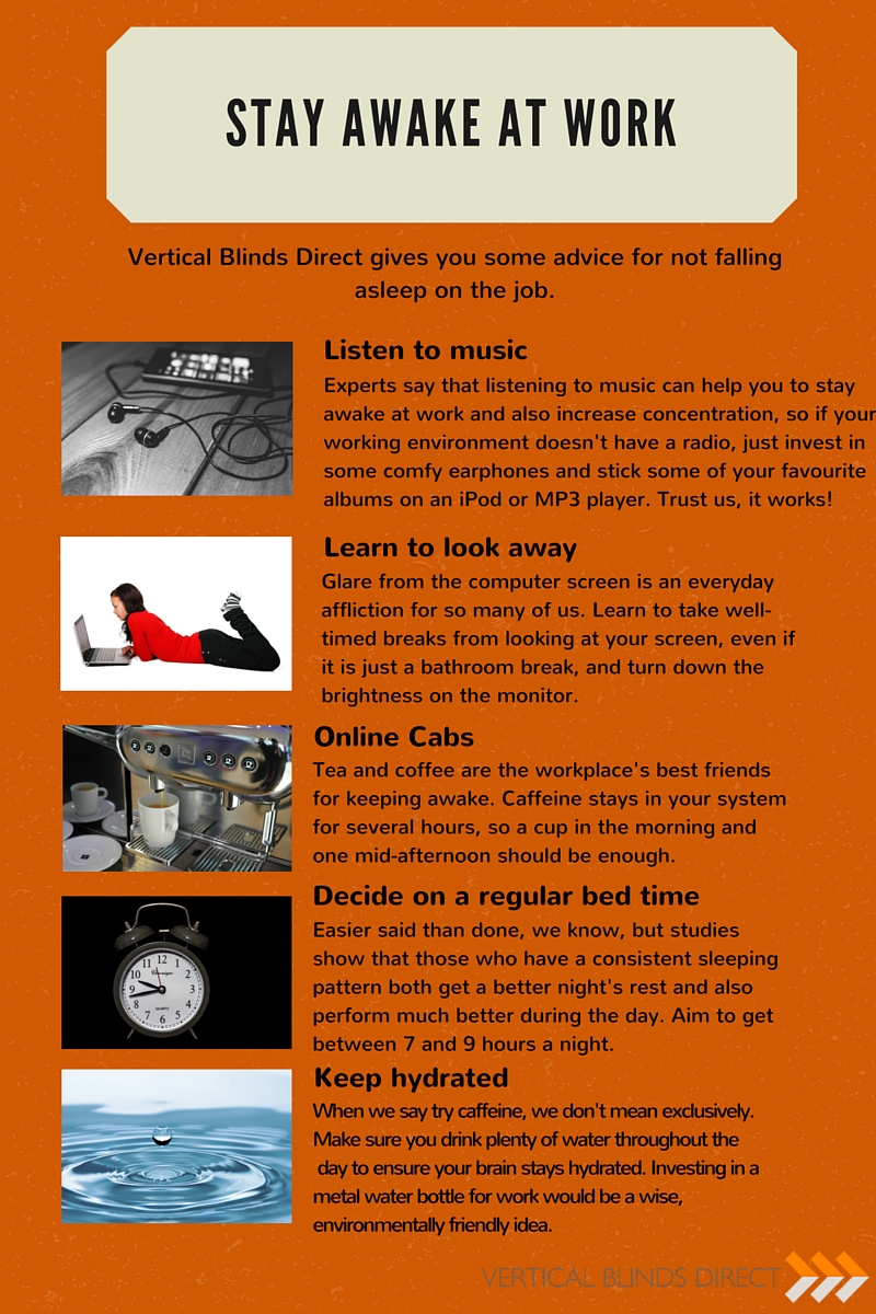 Stay Awake Infographic Vertical Blinds Direct  How To Stay Awake At Work
